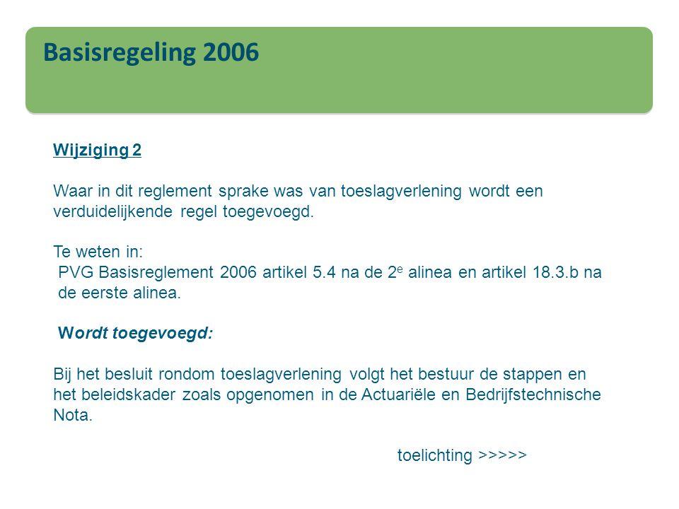 Basisregeling 2006 Wijziging 2 Waar in dit reglement sprake was van toeslagverlening wordt een verduidelijkende regel toegevoegd. Te weten in: PVG Bas