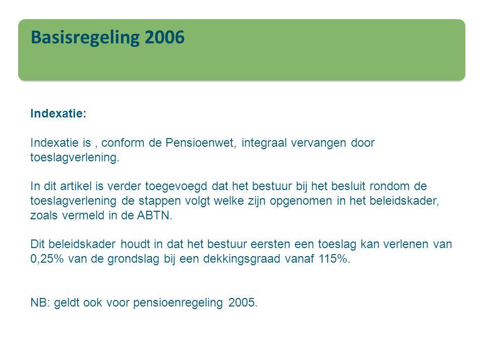 Basisregeling 2006 Indexatie: Indexatie is, conform de Pensioenwet, integraal vervangen door toeslagverlening. In dit artikel is verder toegevoegd dat