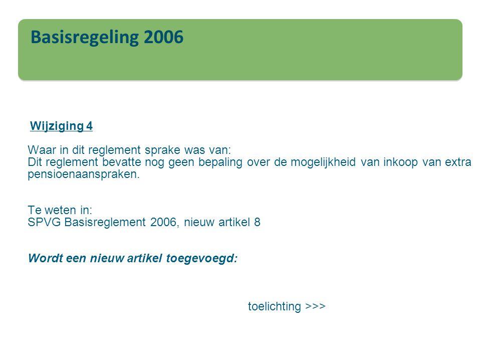 Basisregeling 2006 Wijziging 4 Waar in dit reglement sprake was van: Dit reglement bevatte nog geen bepaling over de mogelijkheid van inkoop van extra