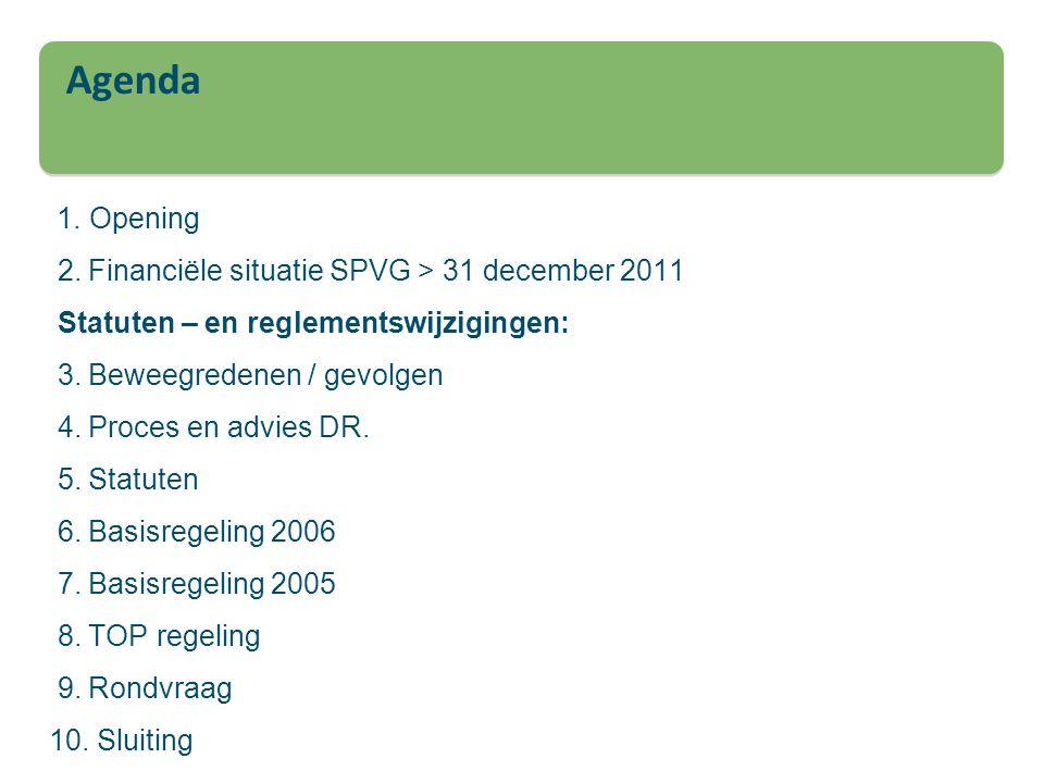 1. Opening 2. Financiële situatie SPVG > 31 december 2011 Statuten – en reglementswijzigingen: 3. Beweegredenen / gevolgen 4. Proces en advies DR. 5.