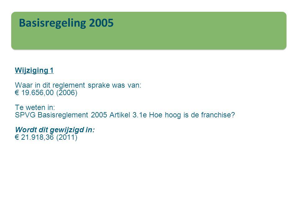 Wijziging 1 Waar in dit reglement sprake was van: € 19.656,00 (2006) Te weten in: SPVG Basisreglement 2005 Artikel 3.1e Hoe hoog is de franchise? Word