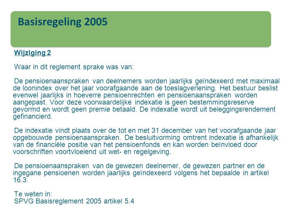 Wijziging 2 Waar in dit reglement sprake was van: De pensioenaanspraken van deelnemers worden jaarlijks geïndexeerd met maximaal de loonindex over het