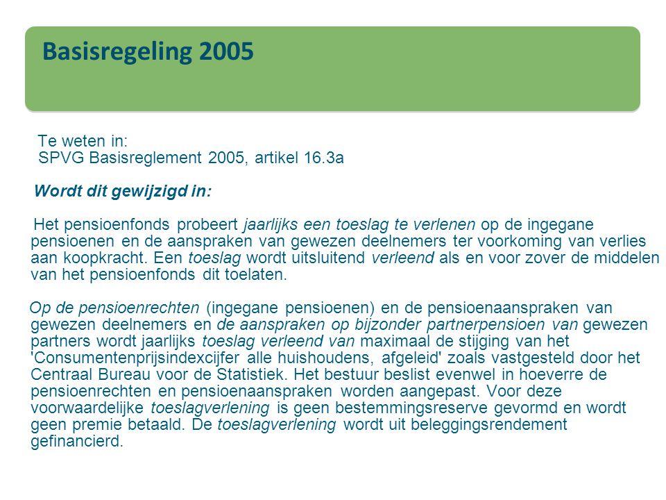 Basisregeling 2005 Te weten in: SPVG Basisreglement 2005, artikel 16.3a Wordt dit gewijzigd in: Het pensioenfonds probeert jaarlijks een toeslag te ve