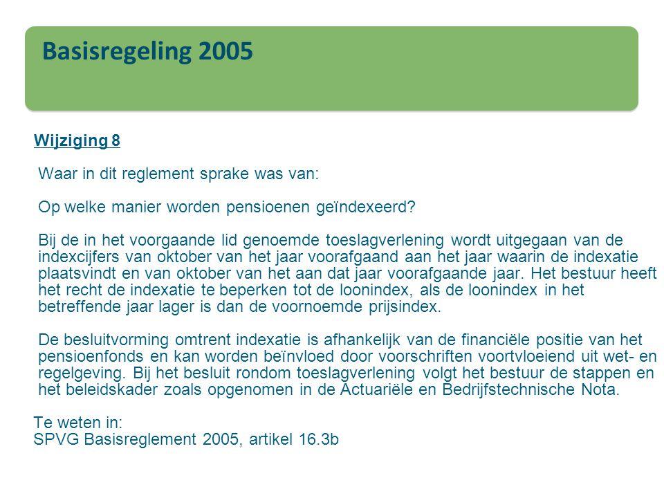 Basisregeling 2005 Wijziging 8 Waar in dit reglement sprake was van: Op welke manier worden pensioenen geïndexeerd? Bij de in het voorgaande lid genoe