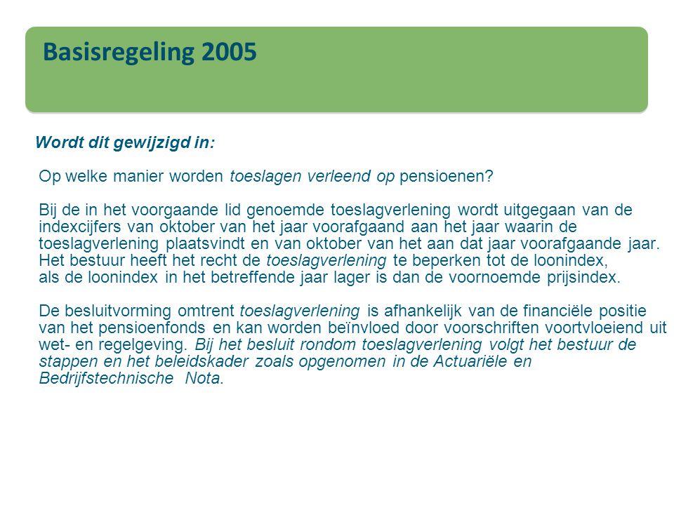 Basisregeling 2005 Wordt dit gewijzigd in: Op welke manier worden toeslagen verleend op pensioenen? Bij de in het voorgaande lid genoemde toeslagverle