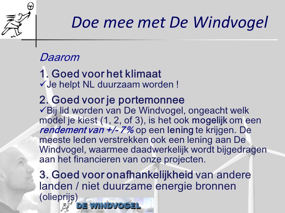 Doe mee met De Windvogel Daarom 1. Goed voor het klimaat  Je helpt NL duurzaam worden ! 2. Goed voor je portemonnee  Bij lid worden van De Windvogel