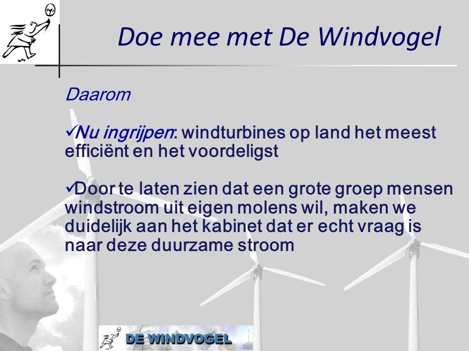 Doe mee met De Windvogel Daarom  Nu ingrijpen: windturbines op land het meest efficiënt en het voordeligst  Door te laten zien dat een grote groep m