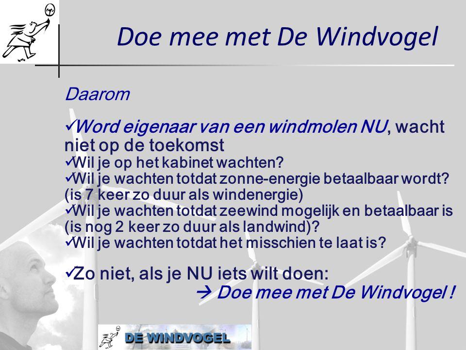 Doe mee met De Windvogel Daarom  Word eigenaar van een windmolen NU, wacht niet op de toekomst  Wil je op het kabinet wachten?  Wil je wachten totd