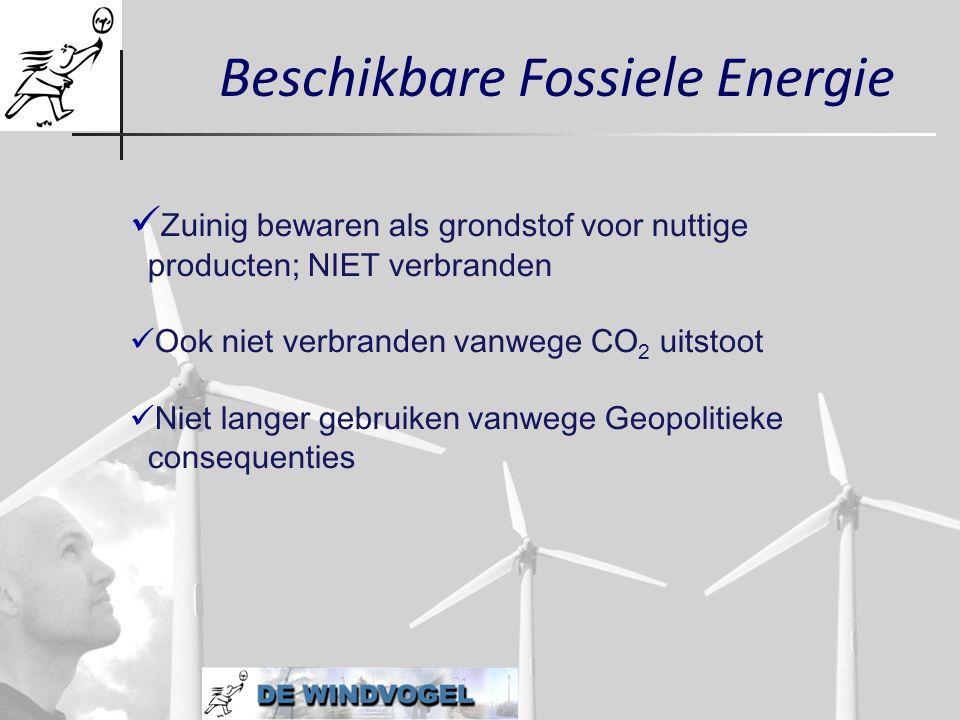 Beschikbare Fossiele Energie  Zuinig bewaren als grondstof voor nuttige producten; NIET verbranden  Ook niet verbranden vanwege CO 2 uitstoot  Niet