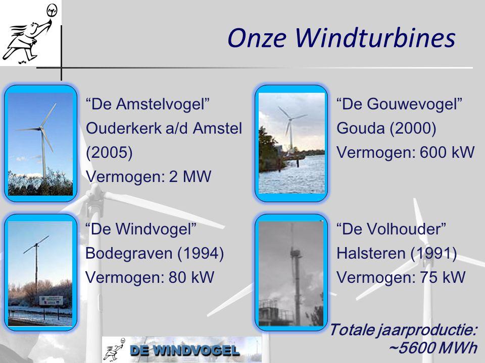 """Onze Windturbines """"De Amstelvogel"""" Ouderkerk a/d Amstel (2005) Vermogen: 2 MW Totale jaarproductie: ~5600 MWh """"De Gouwevogel"""" Gouda (2000) Vermogen: 6"""