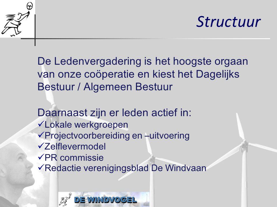 Structuur De Ledenvergadering is het hoogste orgaan van onze coöperatie en kiest het Dagelijks Bestuur / Algemeen Bestuur Daarnaast zijn er leden acti