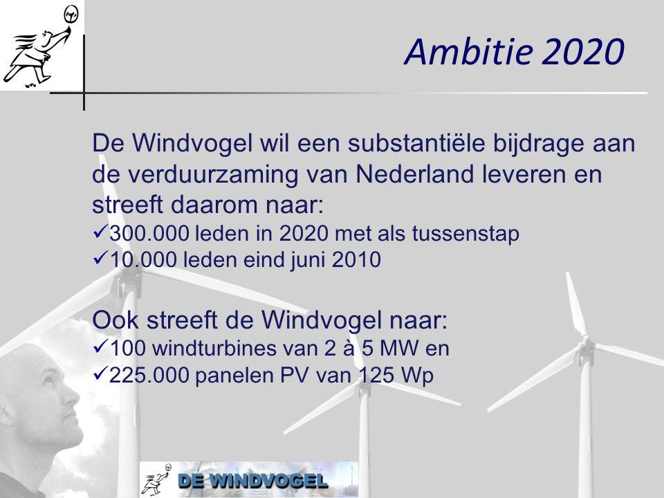 Ambitie 2020 De Windvogel wil een substantiële bijdrage aan de verduurzaming van Nederland leveren en streeft daarom naar:  300.000 leden in 2020 met