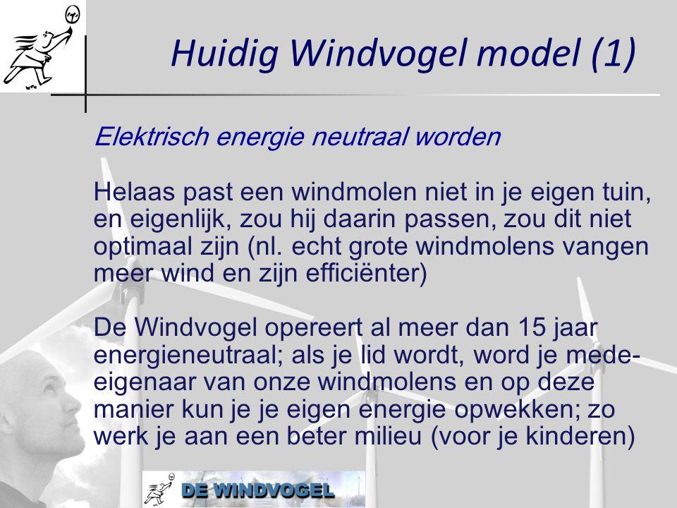 Huidig Windvogel model (1) Elektrisch energie neutraal worden Helaas past een windmolen niet in je eigen tuin, en eigenlijk, zou hij daarin passen, zo