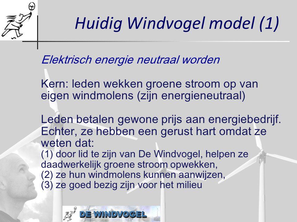 Huidig Windvogel model (1) Elektrisch energie neutraal worden Kern: leden wekken groene stroom op van eigen windmolens (zijn energieneutraal) Leden be