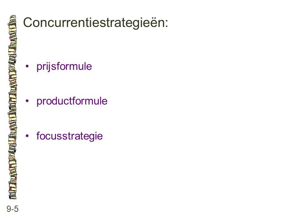 Concurrentiestrategieën: 9-5 •prijsformule •productformule •focusstrategie