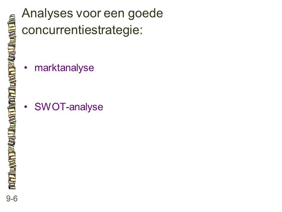 Analyses voor een goede concurrentiestrategie: 9-6 •marktanalyse •SWOT-analyse