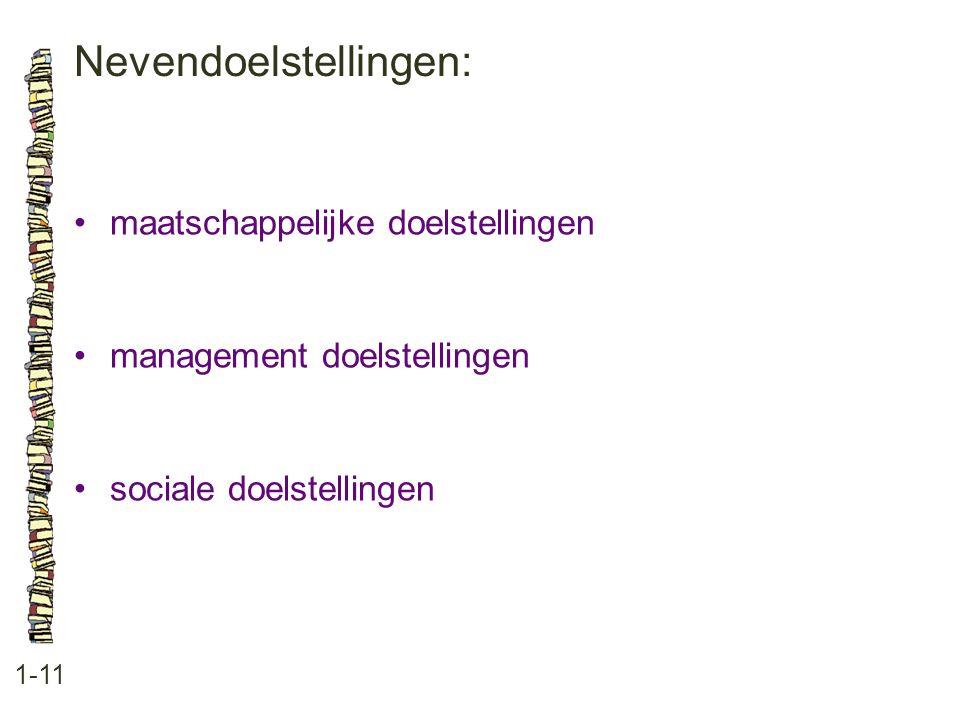 Nevendoelstellingen: 1-11 •maatschappelijke doelstellingen •management doelstellingen •sociale doelstellingen