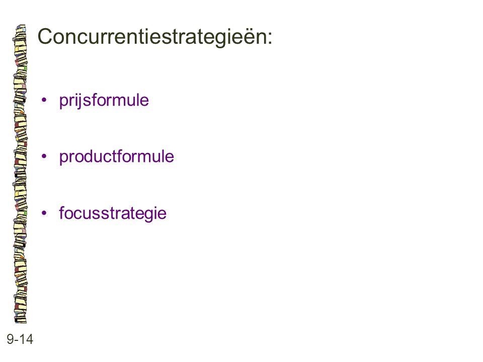 Concurrentiestrategieën: 9-14 •prijsformule •productformule •focusstrategie