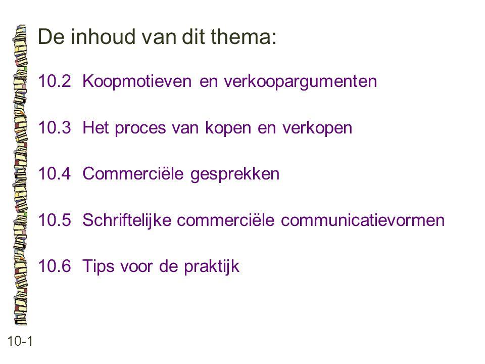 De inhoud van dit thema: 10-1 10.2 Koopmotieven en verkoopargumenten 10.3 Het proces van kopen en verkopen 10.4 Commerciële gesprekken 10.5 Schriftelijke commerciële communicatievormen 10.6 Tips voor de praktijk