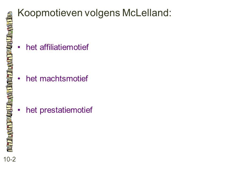 Koopmotieven volgens McLelland: 10-2 •het affiliatiemotief •het machtsmotief •het prestatiemotief