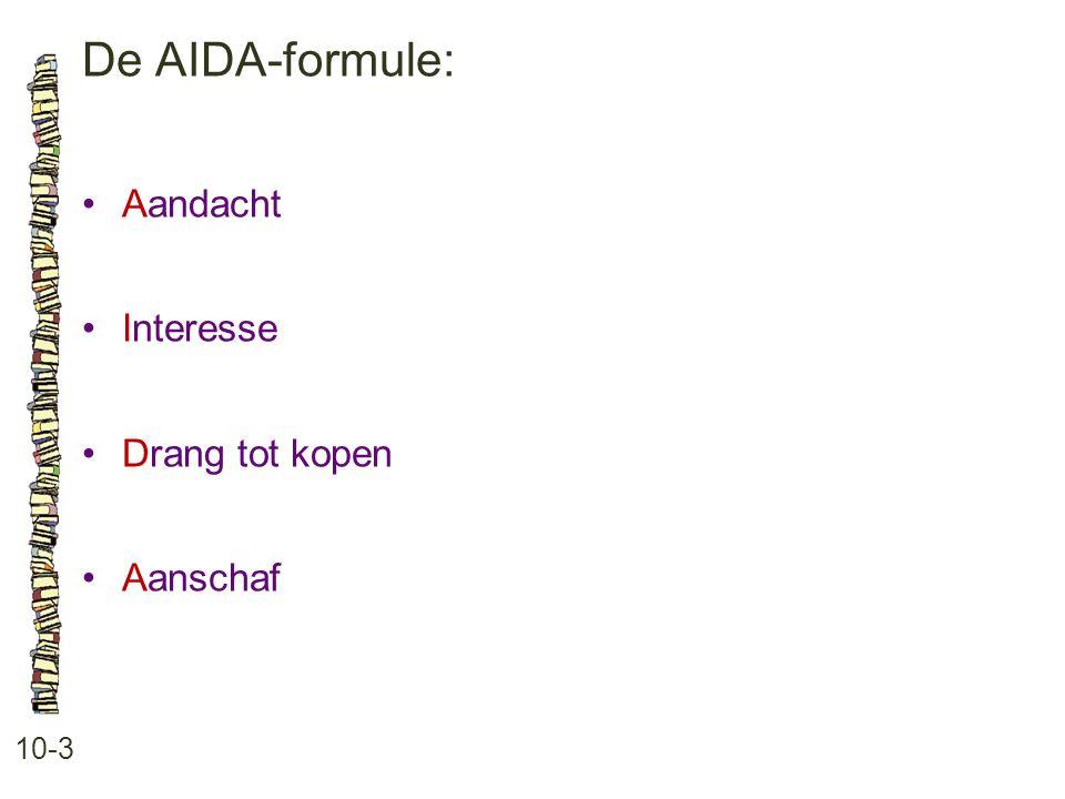De AIDA-formule: 10-3 •Aandacht •Interesse •Drang tot kopen •Aanschaf