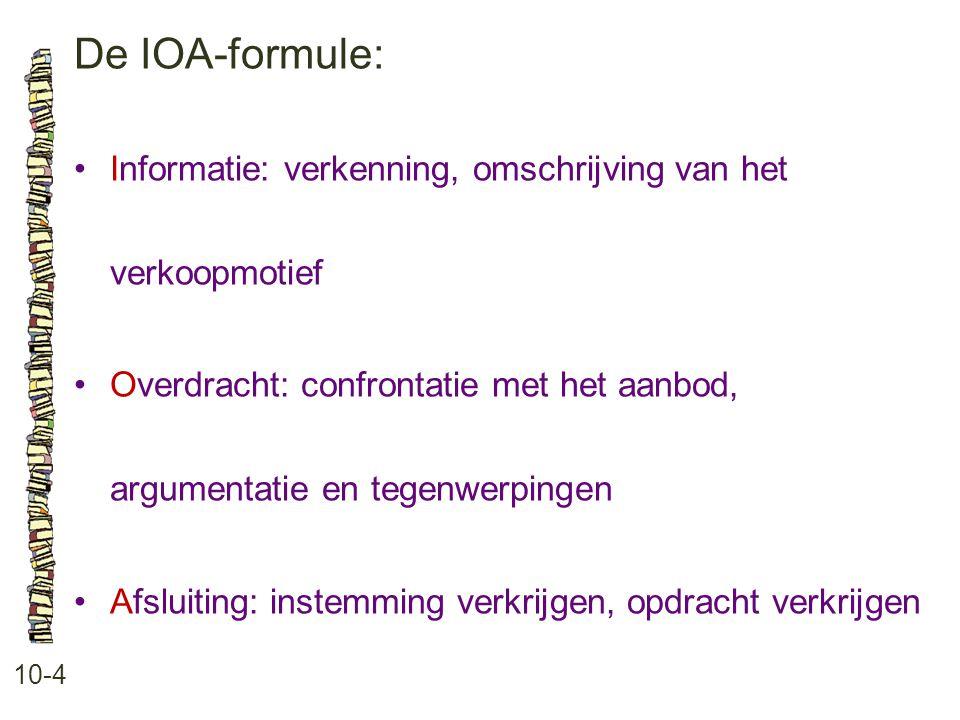 De IOA-formule: 10-4 •Informatie: verkenning, omschrijving van het verkoopmotief •Overdracht: confrontatie met het aanbod, argumentatie en tegenwerpingen •Afsluiting: instemming verkrijgen, opdracht verkrijgen