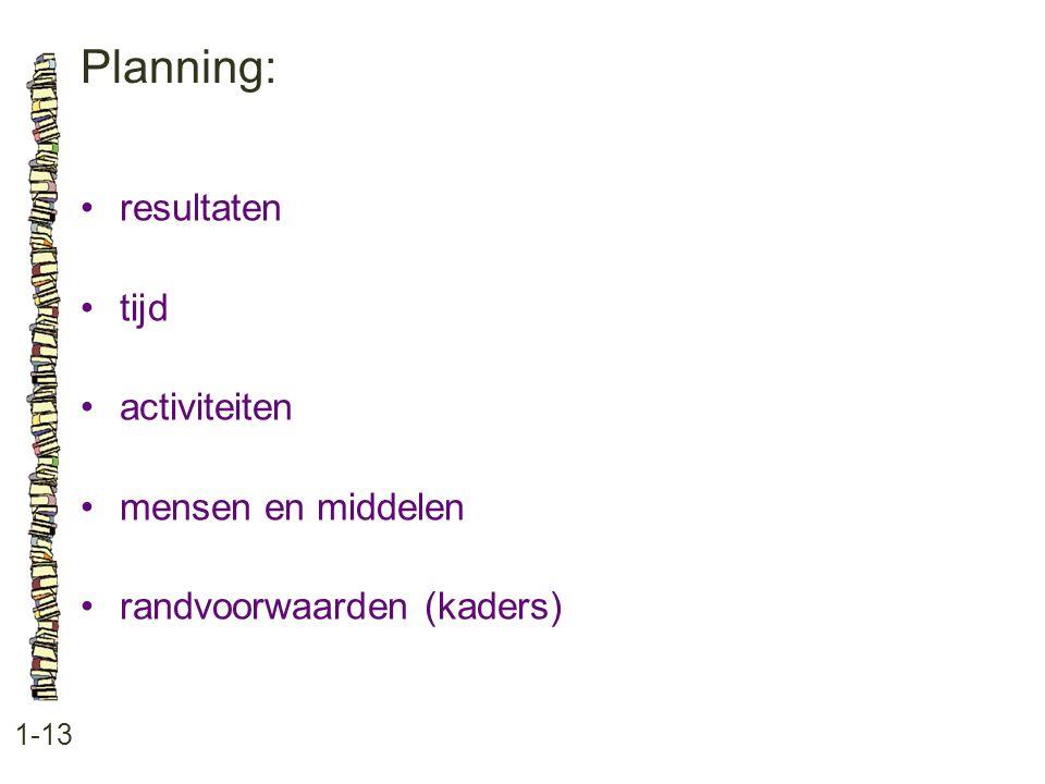 Planning: 1-13 •resultaten •tijd •activiteiten •mensen en middelen •randvoorwaarden (kaders)
