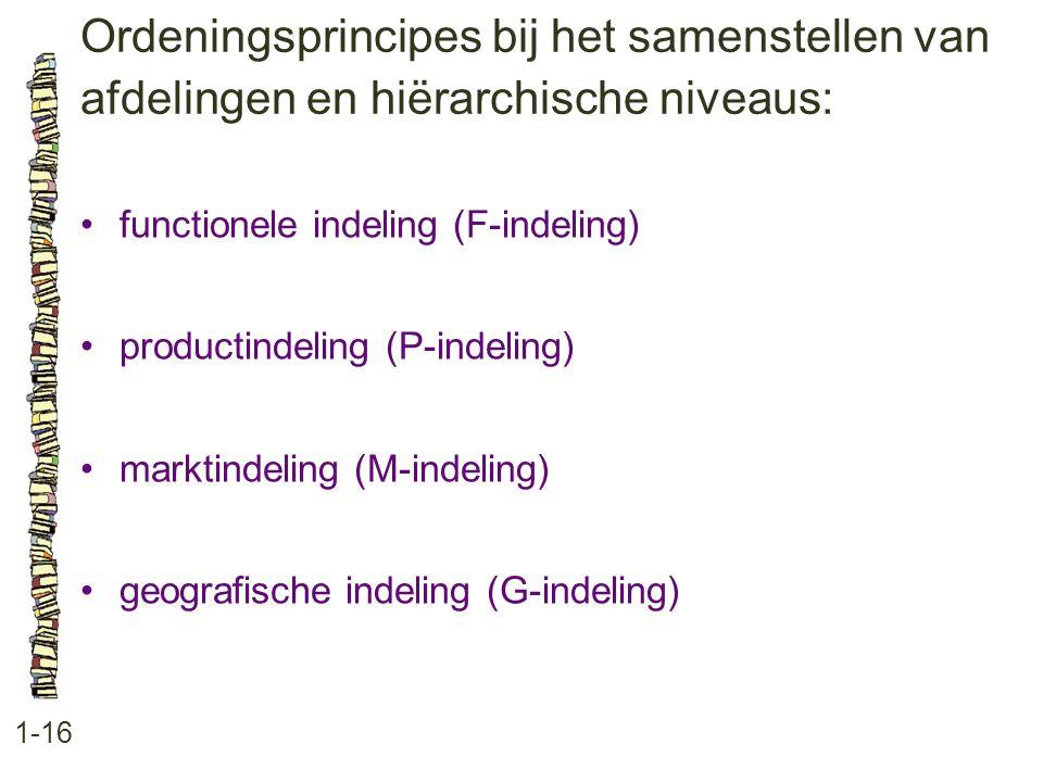 Ordeningsprincipes bij het samenstellen van afdelingen en hiërarchische niveaus: 1-16 •functionele indeling (F-indeling) •productindeling (P-indeling) •marktindeling (M-indeling) •geografische indeling (G-indeling)
