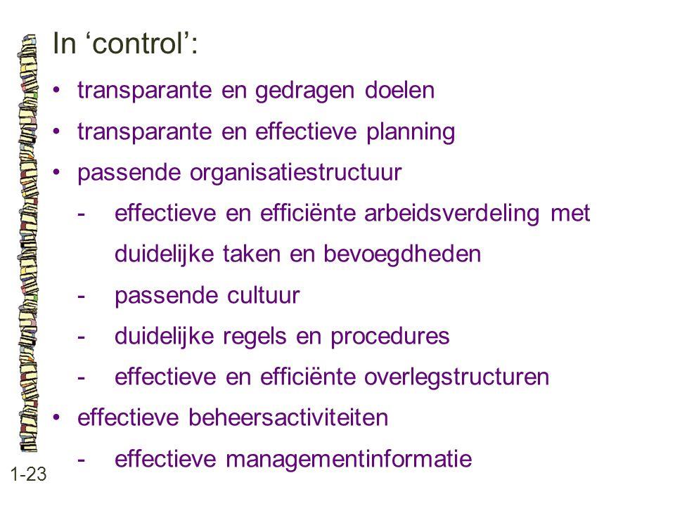 In 'control': 1-23 •transparante en gedragen doelen •transparante en effectieve planning •passende organisatiestructuur -effectieve en efficiënte arbeidsverdeling met duidelijke taken en bevoegdheden -passende cultuur -duidelijke regels en procedures -effectieve en efficiënte overlegstructuren •effectieve beheersactiviteiten -effectieve managementinformatie
