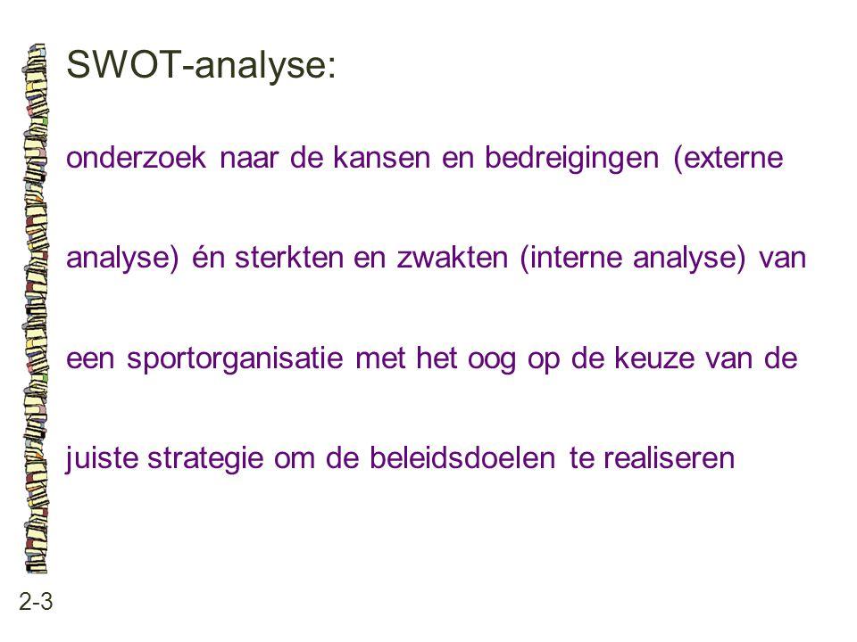 SWOT-analyse: 2-3 onderzoek naar de kansen en bedreigingen (externe analyse) én sterkten en zwakten (interne analyse) van een sportorganisatie met het oog op de keuze van de juiste strategie om de beleidsdoelen te realiseren