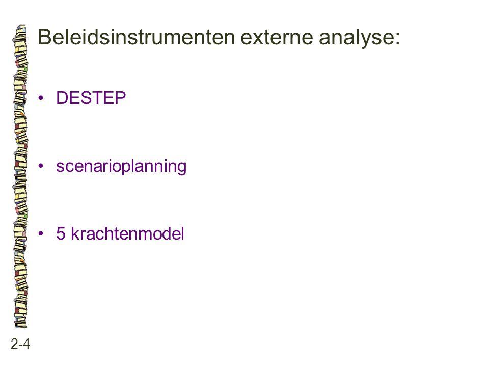 Beleidsinstrumenten externe analyse: 2-4 •DESTEP •scenarioplanning •5 krachtenmodel