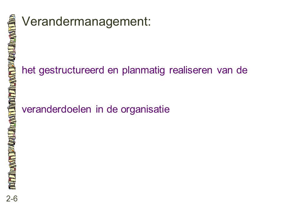 Verandermanagement: 2-6 het gestructureerd en planmatig realiseren van de veranderdoelen in de organisatie