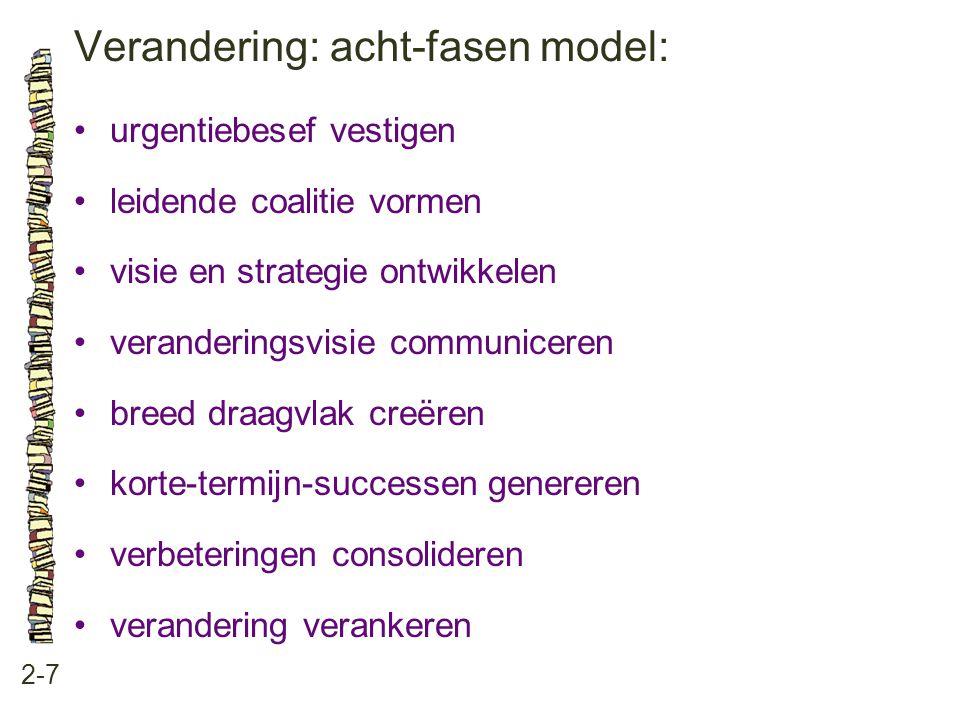 Verandering: acht-fasen model: 2-7 •urgentiebesef vestigen •leidende coalitie vormen •visie en strategie ontwikkelen •veranderingsvisie communiceren •breed draagvlak creëren •korte-termijn-successen genereren •verbeteringen consolideren •verandering verankeren