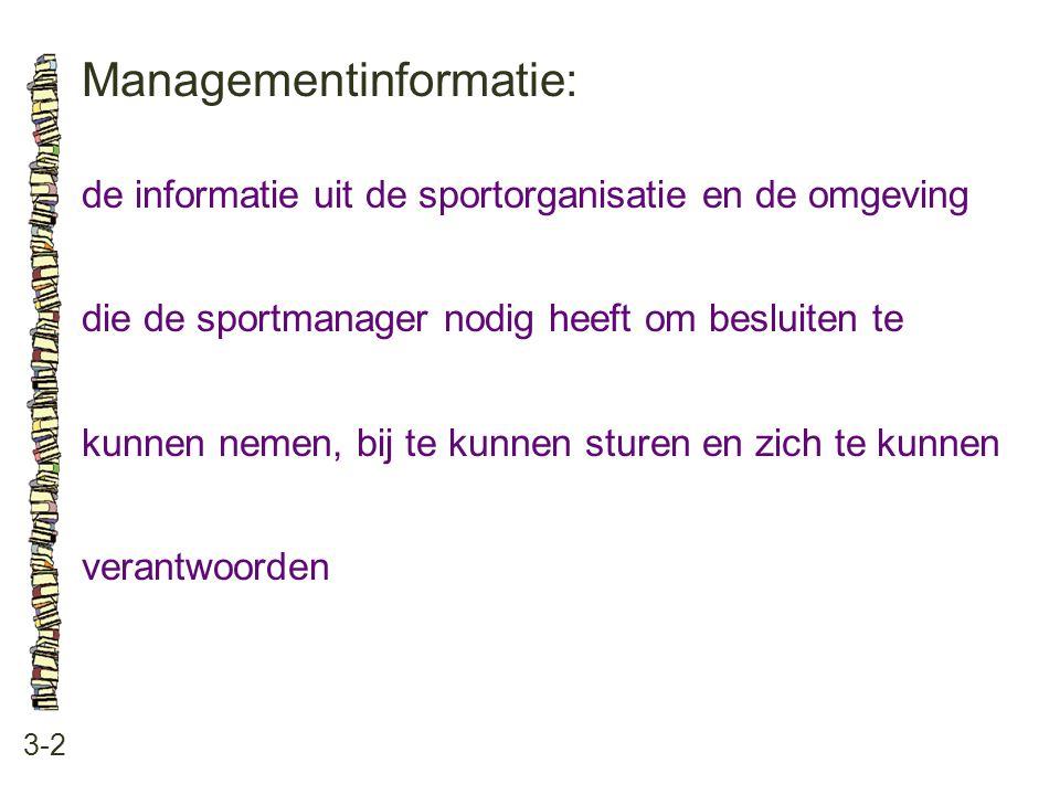 Managementinformatie: 3-2 de informatie uit de sportorganisatie en de omgeving die de sportmanager nodig heeft om besluiten te kunnen nemen, bij te kunnen sturen en zich te kunnen verantwoorden