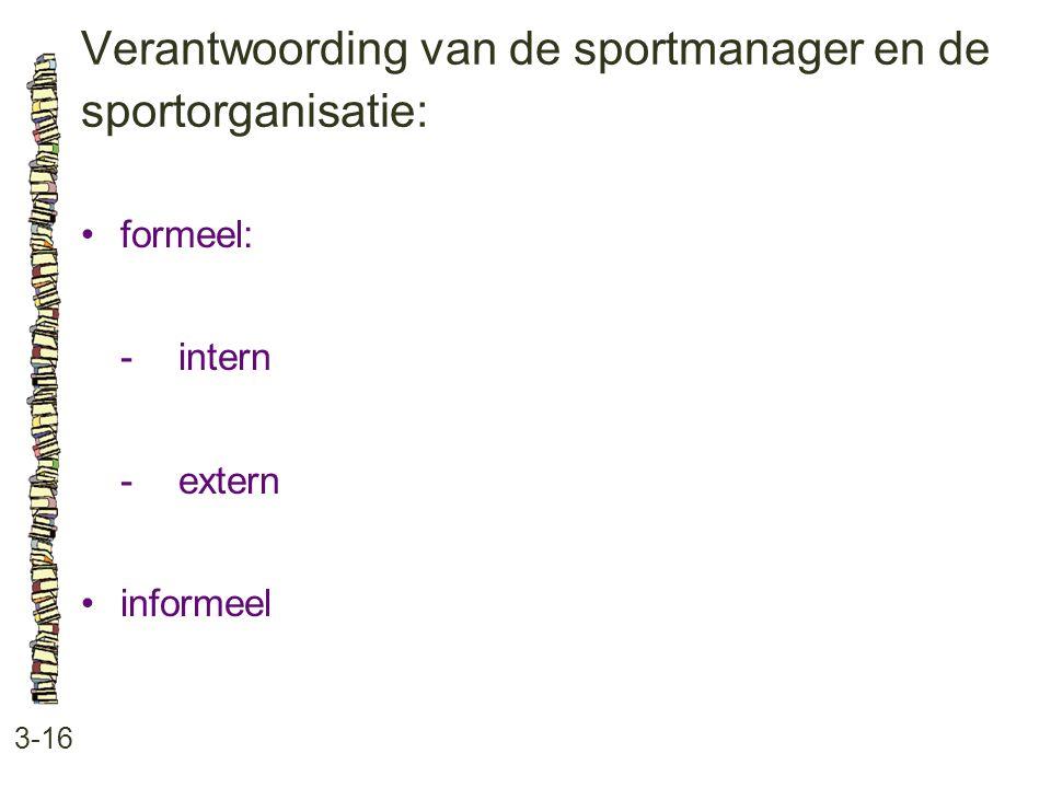Verantwoording van de sportmanager en de sportorganisatie: 3-16 •formeel: -intern -extern •informeel