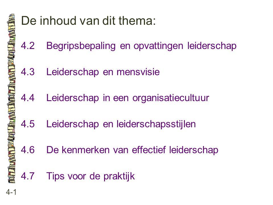De inhoud van dit thema: 4-1 4.2 Begripsbepaling en opvattingen leiderschap 4.3 Leiderschap en mensvisie 4.4 Leiderschap in een organisatiecultuur 4.5 Leiderschap en leiderschapsstijlen 4.6 De kenmerken van effectief leiderschap 4.7 Tips voor de praktijk