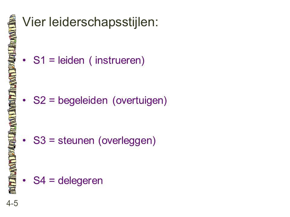 Vier leiderschapsstijlen: 4-5 •S1 = leiden ( instrueren) •S2 = begeleiden (overtuigen) •S3 = steunen (overleggen) •S4 = delegeren