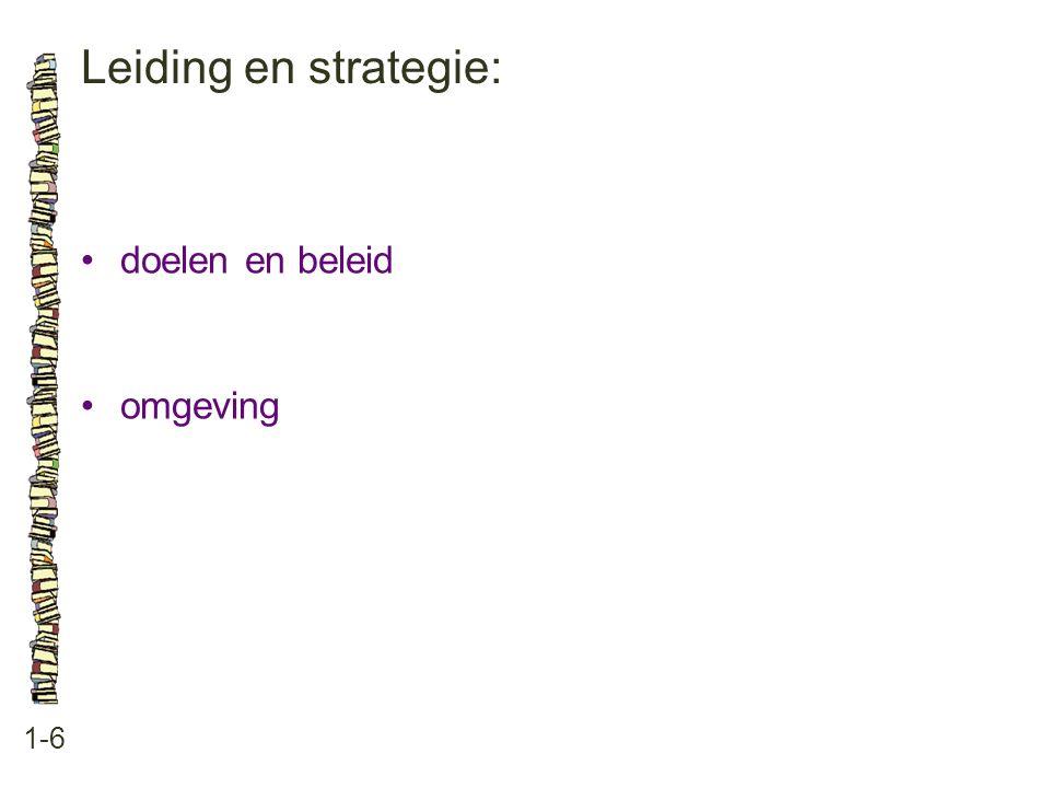 Leiding en strategie: 1-6 •doelen en beleid •omgeving