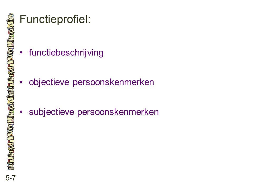 Functieprofiel: 5-7 •functiebeschrijving •objectieve persoonskenmerken •subjectieve persoonskenmerken