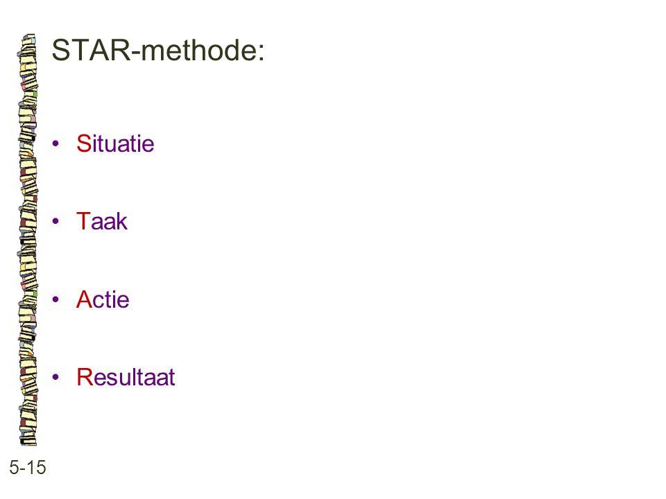 STAR-methode: 5-15 •Situatie •Taak •Actie •Resultaat