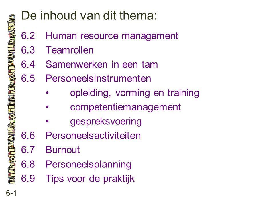De inhoud van dit thema: 6-1 6.2Human resource management 6.3 Teamrollen 6.4 Samenwerken in een tam 6.5 Personeelsinstrumenten •opleiding, vorming en training •competentiemanagement •gespreksvoering 6.6 Personeelsactiviteiten 6.7 Burnout 6.8 Personeelsplanning 6.9 Tips voor de praktijk