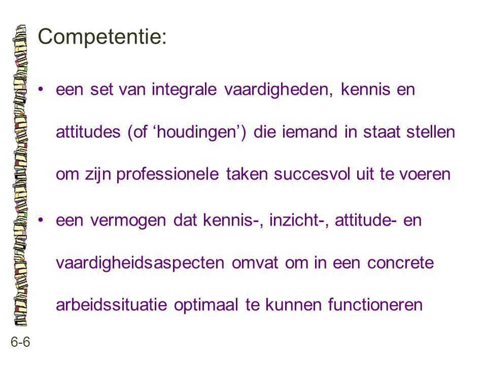 Competentie: 6-6 •een set van integrale vaardigheden, kennis en attitudes (of 'houdingen') die iemand in staat stellen om zijn professionele taken succesvol uit te voeren •een vermogen dat kennis-, inzicht-, attitude- en vaardigheidsaspecten omvat om in een concrete arbeidssituatie optimaal te kunnen functioneren