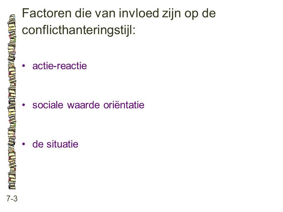 Factoren die van invloed zijn op de conflicthanteringstijl: 7-3 •actie-reactie •sociale waarde oriëntatie •de situatie