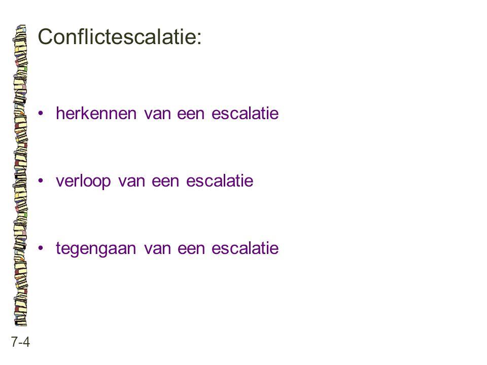 Conflictescalatie: 7-4 •herkennen van een escalatie •verloop van een escalatie •tegengaan van een escalatie