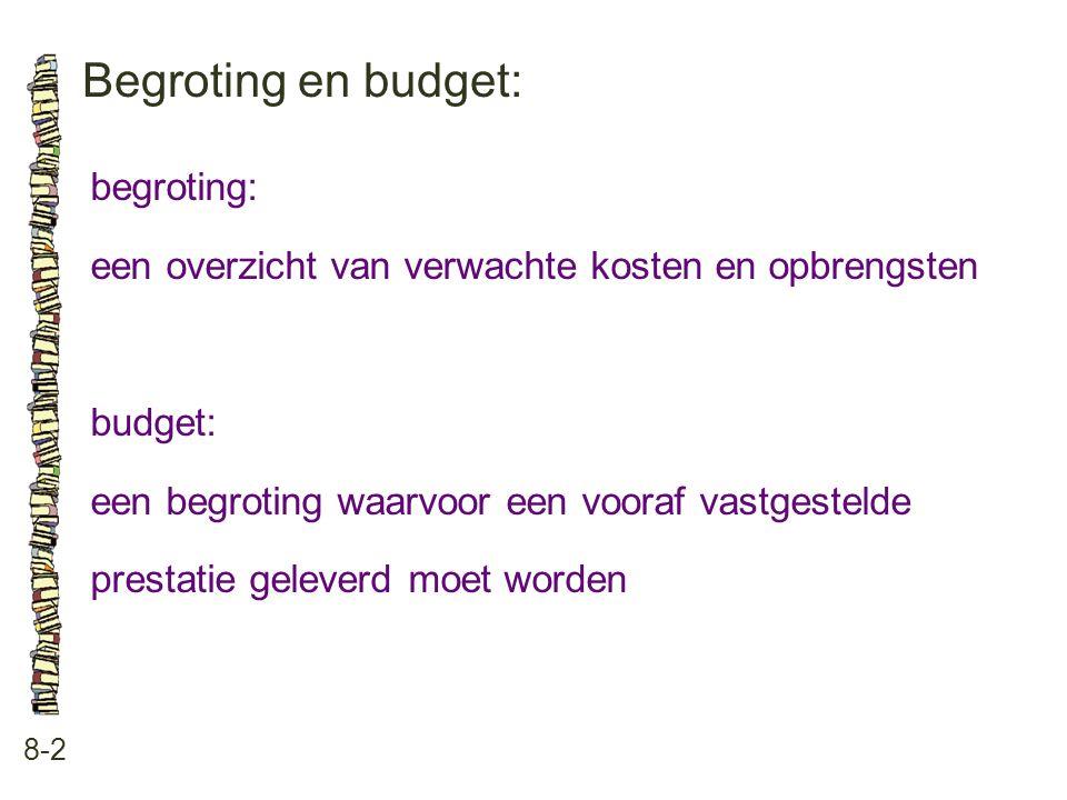 Begroting en budget: 8-2 begroting: een overzicht van verwachte kosten en opbrengsten budget: een begroting waarvoor een vooraf vastgestelde prestatie geleverd moet worden