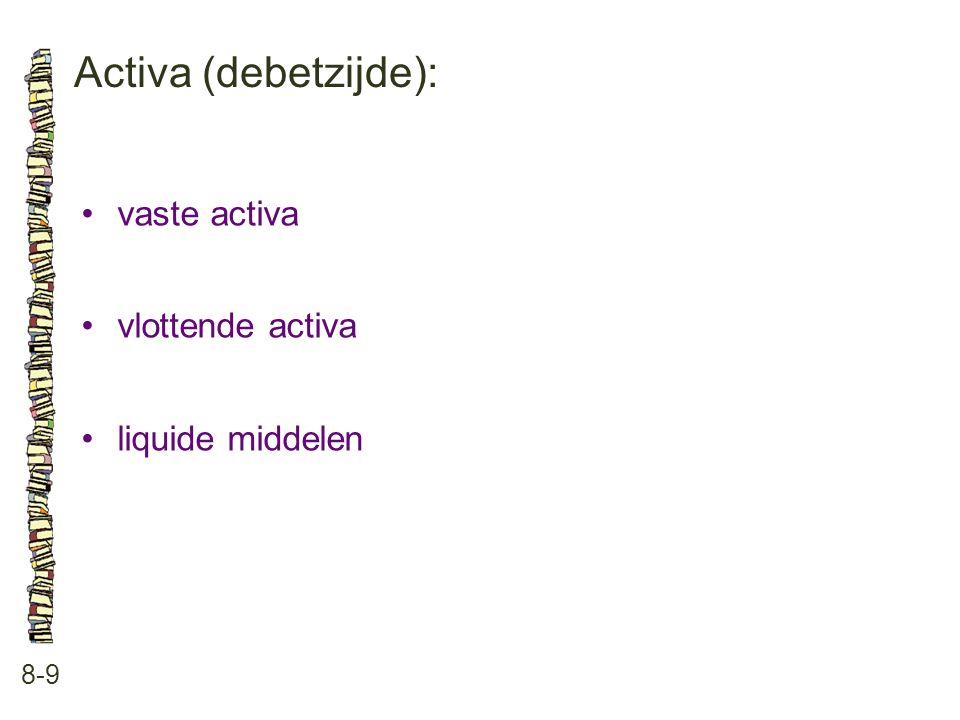 Activa (debetzijde): 8-9 •vaste activa •vlottende activa •liquide middelen