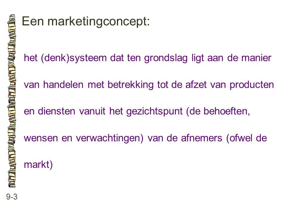 Een marketingconcept: 9-3 het (denk)systeem dat ten grondslag ligt aan de manier van handelen met betrekking tot de afzet van producten en diensten vanuit het gezichtspunt (de behoeften, wensen en verwachtingen) van de afnemers (ofwel de markt)