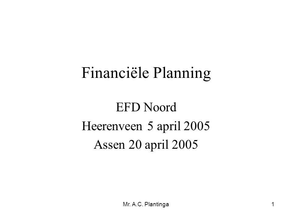 Mr. A.C. Plantinga1 Financiële Planning EFD Noord Heerenveen 5 april 2005 Assen 20 april 2005