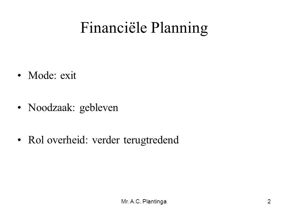 Mr. A.C. Plantinga2 Financiële Planning •Mode: exit •Noodzaak: gebleven •Rol overheid: verder terugtredend
