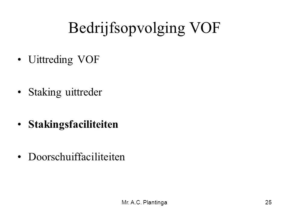 Mr. A.C. Plantinga25 Bedrijfsopvolging VOF •Uittreding VOF •Staking uittreder •Stakingsfaciliteiten •Doorschuiffaciliteiten